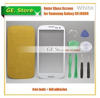 White Original replacement for samsung Front LCD Outer Glass Lens for Samsung Galaxy S3 SIII i9300 + Tools free shipping