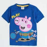 2013 New Arrival Boys Short Sleeve Peppa Pig 100% Cotton T-Shirt with Embroidery Children Clothing Boys Baby Free Shipping 4033