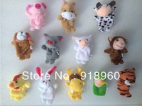 Free Shipping Baby Kids Toys/Children Gift, Plush Toy/ Finger Puppets/Tell Story Props12 pcs/lot (12 animal group) Animal Doll