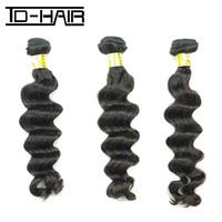 100% Human Hair Brazilian Virgin Hair Loose Wave 3pcs lot unprocessed natural color 1B TD HAIR Products