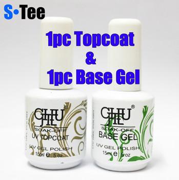 Free shipping + 15ml Soak-Off Nails UV Gel Polish 1pc Foundation gel & 1pc Top Coat soak off gel nail Art polish Care