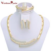 2014 New Design Women Jewelry set, Australia Crystal 18k Gold Plated Chunky Necklace&Bangle Wedding Jewelry Sets,Free shipping
