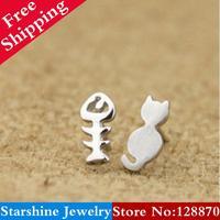 Min Order $5 Mix PL22405 personalized asymmetrical earrings kitten fish bone  earring