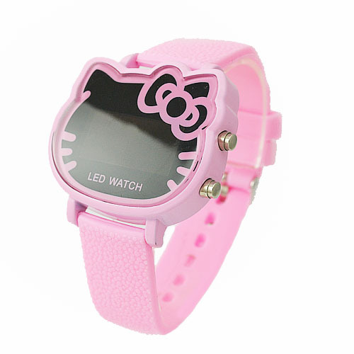 2013 Hot New Products Fashion Hello Kitty LED Digital Pink Watch For Children/Women Free Shipping(China (Mainland))