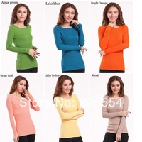 Autumn- winter Women's  Turtleneck /Round Collar long sleeve pullover knitted sweater slim basic sweaters S M L 12colors choice.