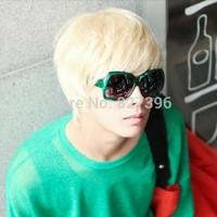 Fashion Man Short Platinum Blonde Rice White Straight Wig