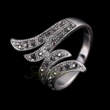 Размер# 6-9 Модный 18K Белый Золото Plated Vintage Angel Wings Ring For Женщины