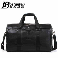 Bostanten high capacity business mens natural Cowhide Genuine leather travel luggage bag duffle for men