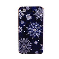 Christmas Snowflake Crystal Clear Bling Diamond Hard Back Cover Case for iPhone 4 4G 4S