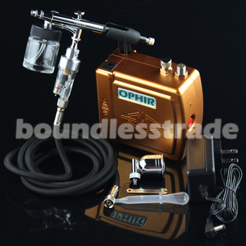 2015 OPHIR Airbrush Spray Paint Golden Air Compressor Kit For Makeup Body Tattoo Hobby 100-240V Free Shipping_AC003G+AC005+AC011
