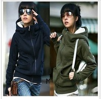 Womens High tie Hooded Hoodies Long Sleeve Pullover Encase Finger Sweater Coat Free shipping Drop shipping WF-327