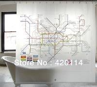 Brand New London Subway Map Bathroom Waterproof Fabric Shower Curtain Free12 Hooks   180*180cm