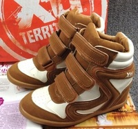 Brown White Isabel Marant hidden platform wedge Sneakers women brand shoes 2013