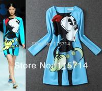 Free Ship New Runway 2014 Spring Women Micky Mouse Cartoon Print Blue  Long Sleeve Cute  Lovely Dress Lady  Sweet  Dresses
