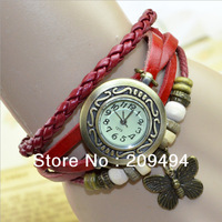 Newest Antique Quartz Woman Wristwatch Leather Band With Butterfly Bracelet  Watch  Beautiful Watch  Free Shipping