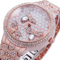 2014 Luxury Fashion Women Rhinestone Watches Gold Golden Quartz Dress Watch Ladies Girls Gifts Bracelet Butterfly Watch Reloj