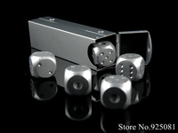 2014 Aluminum Alloy Silver Color dice Poker Party Game Toy Casino Dominoes Portable Bosons Tube Man XMAS Gift Cheap price