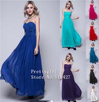 ZJ0009 strapless pink purple royal blue teal burgundy colored chiffon flower long long bridesmaid dresses 2015 plus size party