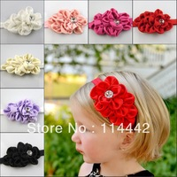 Free Shipping 10pcs/lot  8 colors mix Kids Headbands Satin Flower Hairbands Girl Baby Elastic  Hair Accessories Mix 8 colors