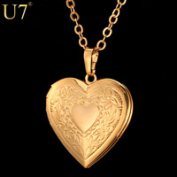 Valentines Gift Heart Locket Necklace Jewelry Wholesale New 18K Real Gold Plated Romantic Fancy Heart Pendant For Women P318