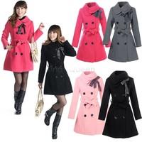 2014 New Fashion Women Double-breasted Turtleneck Luxury Winter Long Wool Coat Jacket  Black/Gray/Red/Pink M/L/XL/XXL 3351