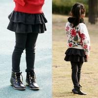 2013 New Winter Children's Girls Cake Culottes Kids Cotton Leggings With Tutu Skirt Pants Size 3-8 Years 18558 B19