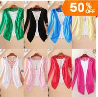 12 COLORS ! LOWEST PRICE! 2014 autumn winter fashion Women Lace long sleeve short Crochet Knit Blouse Sweater Cardigans WC0204