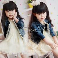 2014 New Fashion Korea Style Girls Kids Lace Cowboy Jacket Denim Top Button Costume Outfits Jean Coat b11 20119