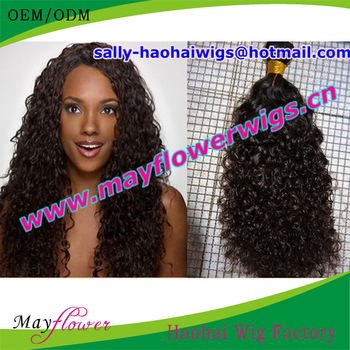 Free Shipping Wholesale American African Cuticle Intact pretty Curl Hair Extensions Mongolian virgin human Hair machine weft
