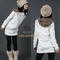 Free Shipping Fashion Korea Cotton Womens Hoodies Sweatshirts Leopard Top Outerwear Coats free shipping 51
