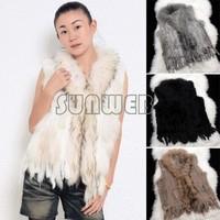 Hot Selling 2014 Genuine Knitted Rabbit Raccoon Fur vest collar fur mixed order natural real Fur Coat waistcoat jackets  B6