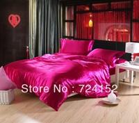4pcs cool summer bedding 100 imitated silk bed sheet sets/duvet cover/ bedding sets /bedspread/comforter set/Rose