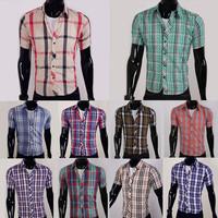 Free shipping 2013 New Mens color plaid shirt short Sleeve slim fit ,Polo shirt High grade Design  5989