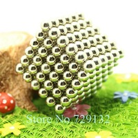 Free shipping 5mm Buckyballs Magnetic balls Neocube Magic cube Magnet Puzzle (Nickel color, Round tin box)