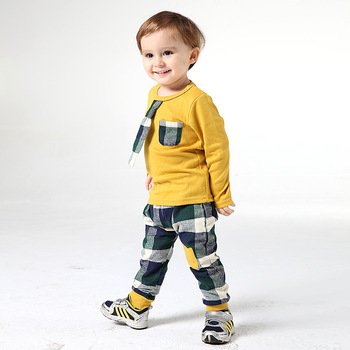 2013 children's spring & autumn clothing sets plaid pants cotton baby boys suits with tie long-sleeve tee and pants twinset