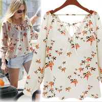 Free shipping/Women's Fashion/Women ZA** Little Dove Printed Chiffon Shirts, Lady Casual Blouse/Wholesale+Retail #SX9797