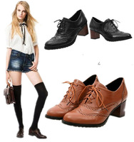 Baroque Style Oxford Shoes For Women Flat Boots For women Vintage Shoes Leather Boots Oxfords Low Heel Ankle Boots Heels Oxford