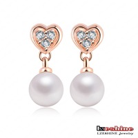 LZESHINE Brand Wedding Pearl Heart Earring Jewelry 18K Rose Gold Plate SWA Elements Austrian Crystal Bride Earrings ER0166-A
