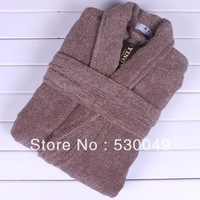 Free Shipping 1 PCE 100% Cotton Fashion Coffee Male Winter Bathrobe, 2 Colors, Size L, XL