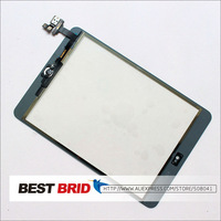 Free shipping For Black iPad Mini Touch Screen Digitizer with Home Button and IC Connector Assembly