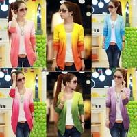 CC808 # Tops! 2014 fashion Women's Thin Blouse Stripe Gradient Color Knit Blouse Sweater Cardigans