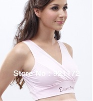 Pure cotton vest maternity underwear nursing intertube nursing bra Tanks Camis champagne color Pink jade M L XL XXL