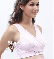 Pure cotton vest maternity underwear nursing intertube nursing bra Tanks Camis champagne color Pink jade M L XL XXL