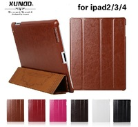 Luxury Leather Case thin for apple iPad 4 3 2 Retro Magnetic New Smart Cover Stand  black red deep brown light brown 8 colors