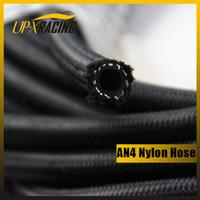 AN4 auto nylon double braided hose black fuel oil gas hose  fittings