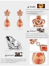 LZESHINE Brand Sexy Women Earrings 18K Rose Gold Plate SWA Elements Austrian Crystal Flower Water Drop