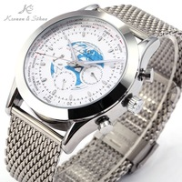 Luxury KS World Map Transocean 6 Hands Day Date Automatic Mechanical Stainless Steel Mesh Strap Men's Dress Wrist Watch/ KS087