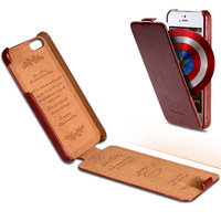 Luxury PU Leather Case for iPhone 4 4S 5 5S Ultrathin Vintage Crazy Horse Flip Cover 6 Colors YXF008