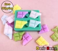 Free shipping chocolate shaped silicone cake decorating fondant / cake / jelly / soap mold tool