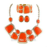 2014 Latest Colorful  Rhinestone Stud Earrings Charm Bangles And Choker Necklace Jewelry Set